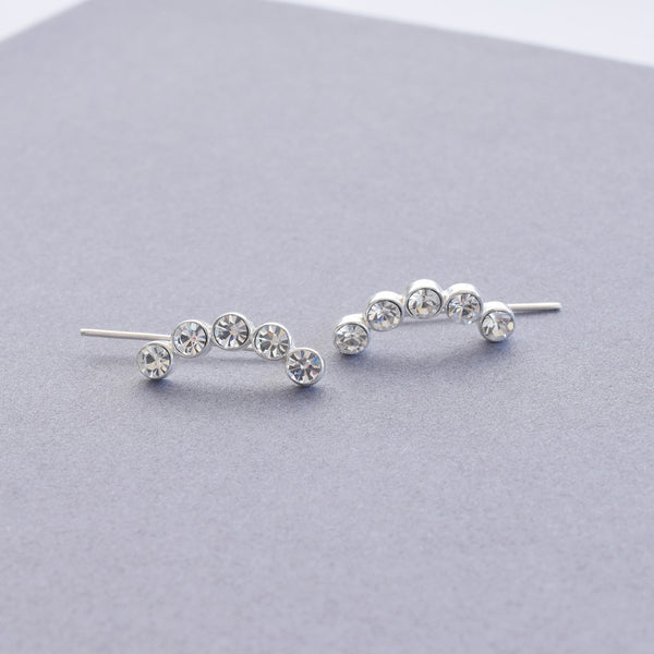 Round w Crystal Ear Pin | Sterling Silver - anelarevese - 1