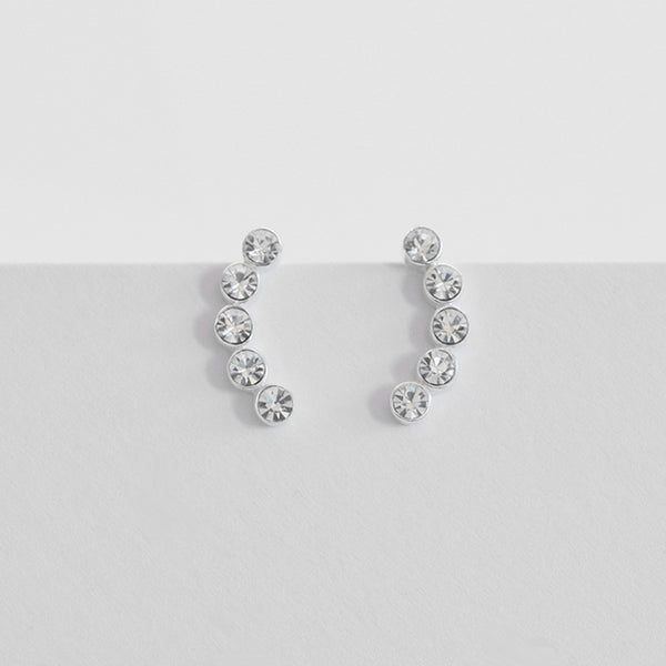 Round w Crystal Ear Pin | Sterling Silver - anelarevese - 2