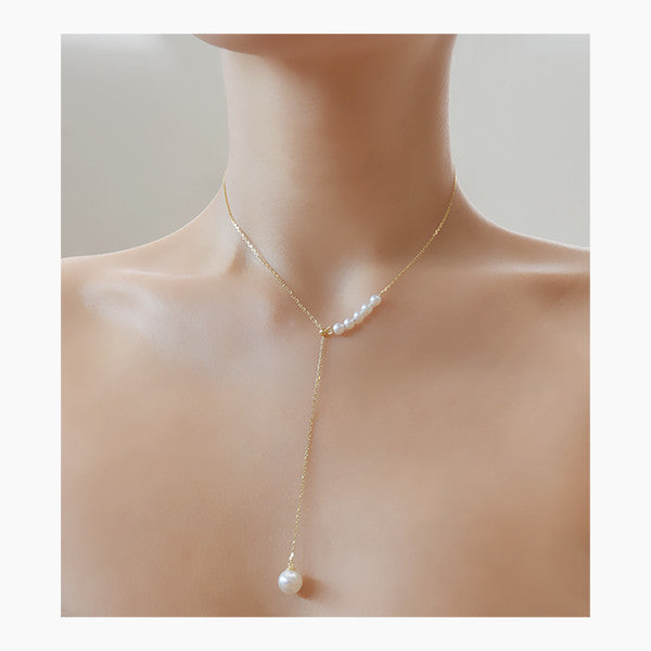 - Golden Pearly Y-Drop Necklace Sterling Silver - anelarevese - 5