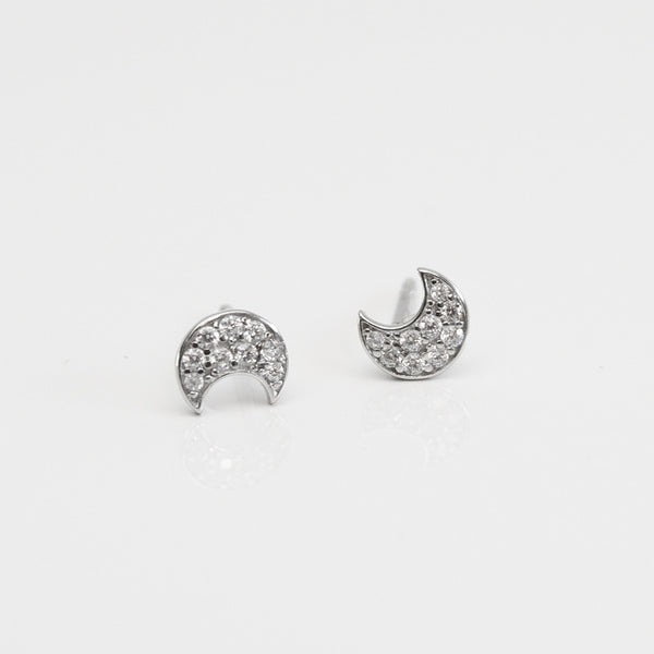 - A| Adorable Crescent Studs Sterling Silver - anelarevese - 1