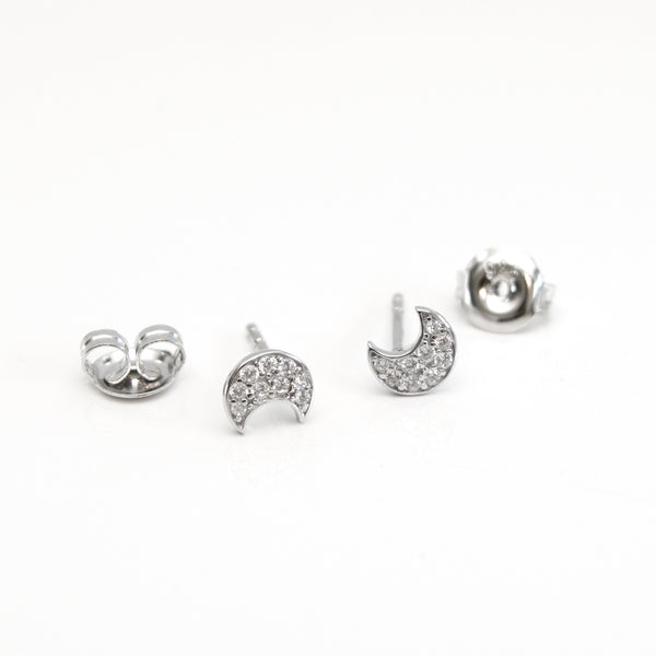 - A| Adorable Crescent Studs Sterling Silver - anelarevese - 4