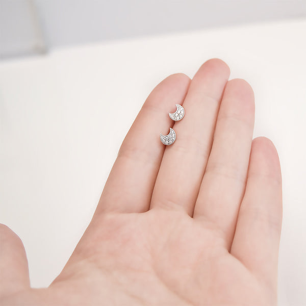 - A| Adorable Crescent Studs Sterling Silver - anelarevese - 6