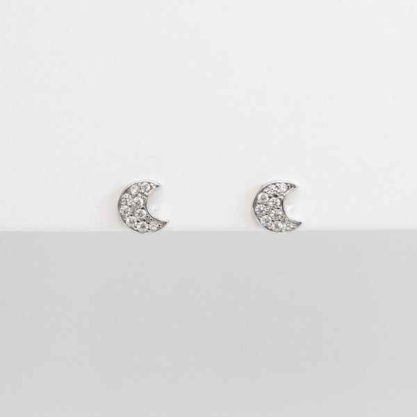 - A| Adorable Crescent Studs Sterling Silver - anelarevese - 2