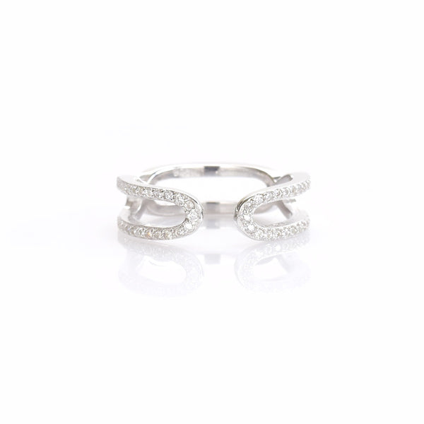 Curved Ring with CZ Sterling Silver - anelarevese - 1
