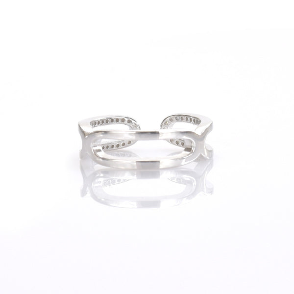 Curved Ring with CZ Sterling Silver - anelarevese - 2
