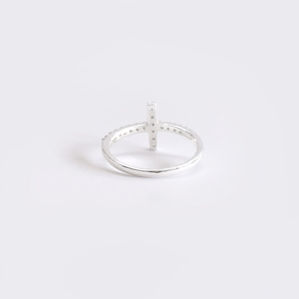 CROSS RING W CZ Sterling Silver - anelarevese - 2