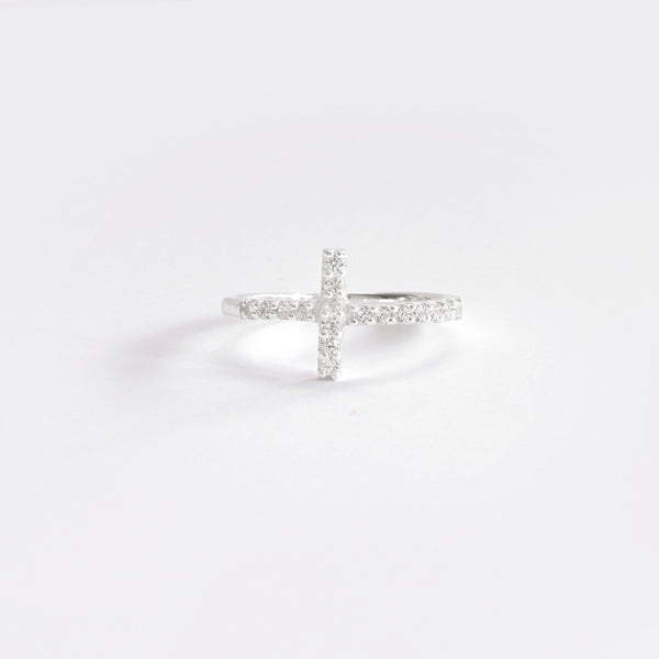 CROSS RING W CZ Sterling Silver - anelarevese - 1