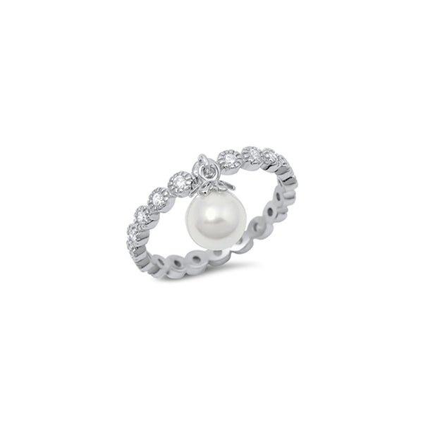 A- Dangle Pearl with CZ Sterling Silver - anelarevese - 1