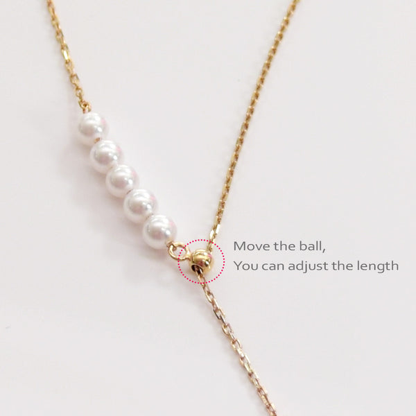- Golden Pearly Y-Drop Necklace Sterling Silver - anelarevese - 3