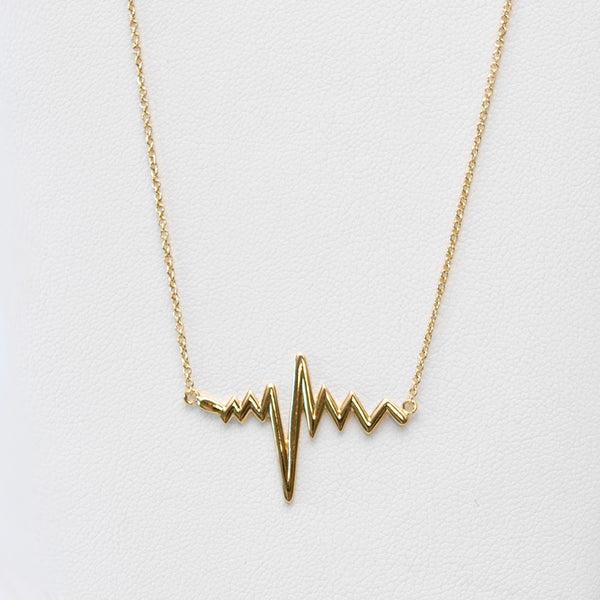 - A| Heart Beat Gold Necklace Sterling Silver