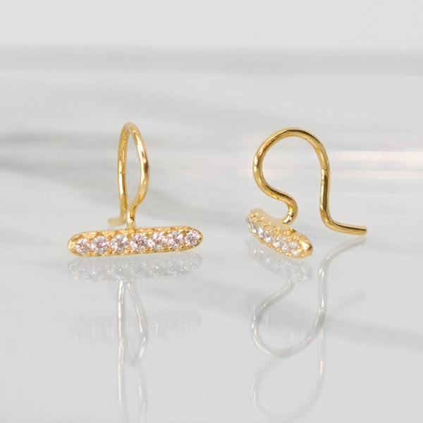 - A| Unique Hook Gold Earrings Sterling Silver - anelarevese - 2