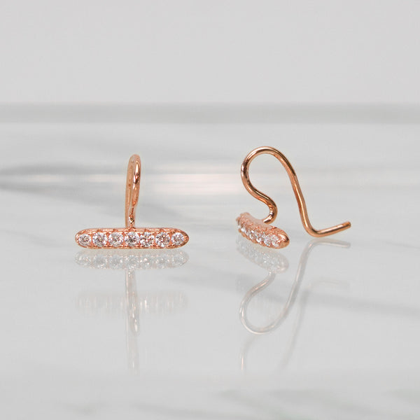 - A| Unique Hook Rose Gold Earrings Sterling Silver - anelarevese - 2