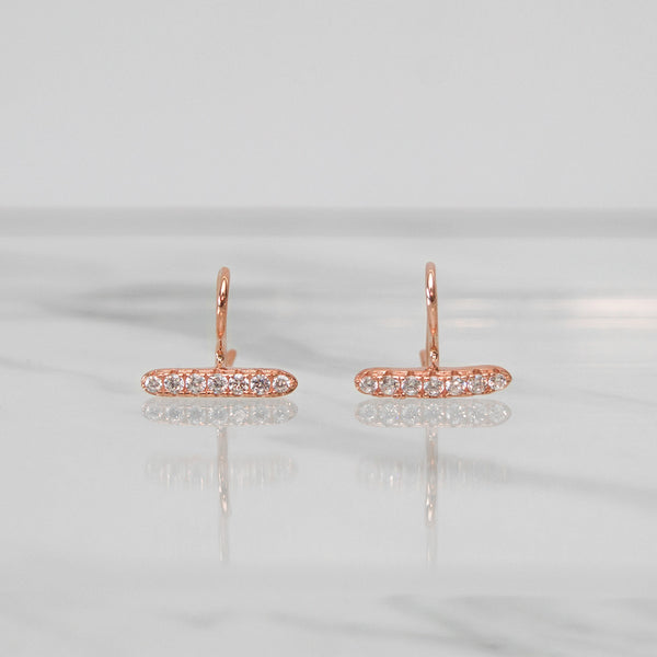- A| Unique Hook Rose Gold Earrings Sterling Silver - anelarevese - 1