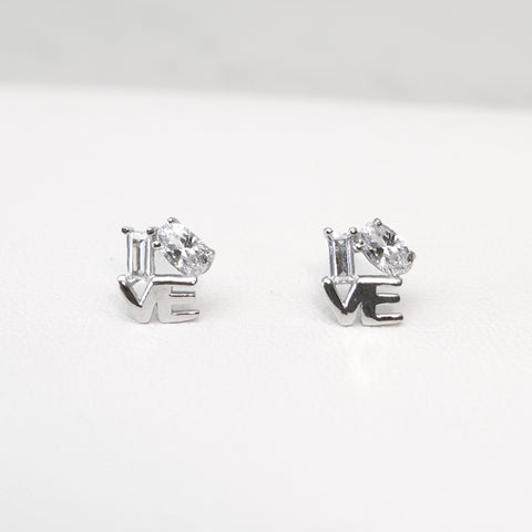 - A| Love Studs Sterling Silver