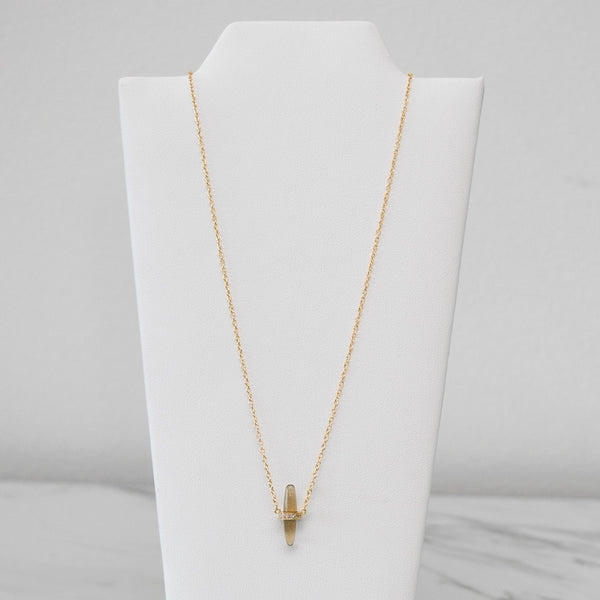 - A| Narrow Oval Necklace with CZ Sterling Silver