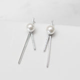 - A| Pearl Stick Earrings Sterling Silver