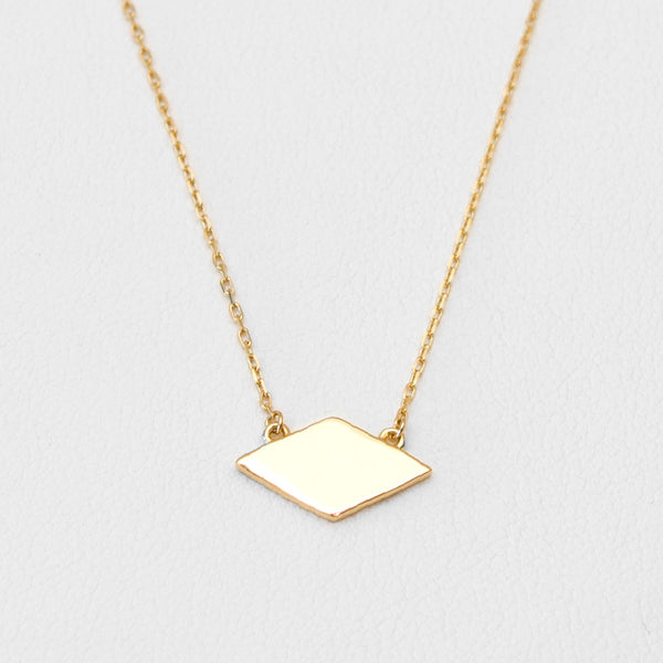 - A| Rhombus  Gold Necklace Sterling Silver