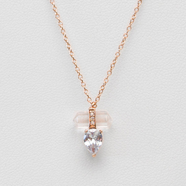 - A| Rock Crystal & Tear Necklace Sterling Silver