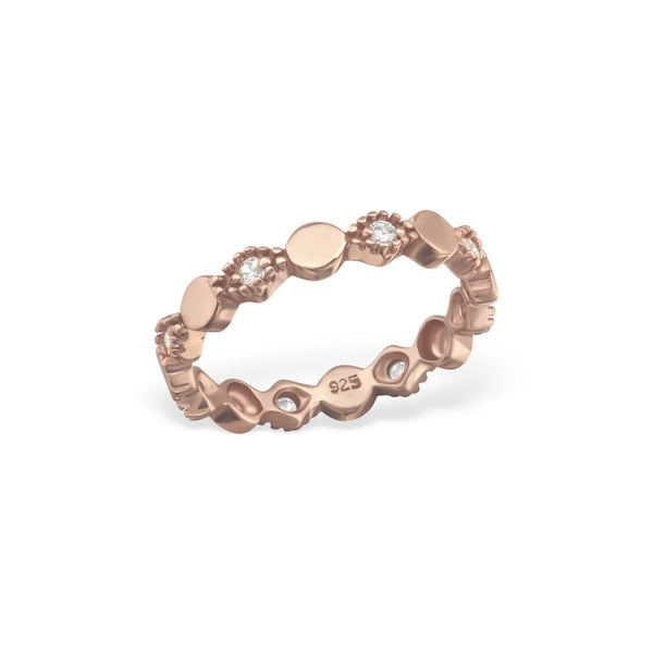 Rose Gold Ring With CZ Sterling Silver - anelarevese - 2