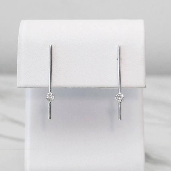 - A| Straight Line Earrings Sterling Silver