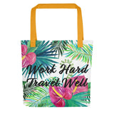 Work Hard Travel Well Floral Tote bag