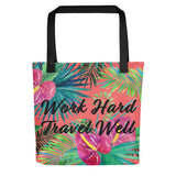 Work Hard Travel Well Floral Tote bag-The Work Hard Travel Well Store