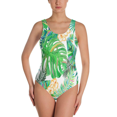Tropical One-Piece Swimsuit-The Work Hard Travel Well Store