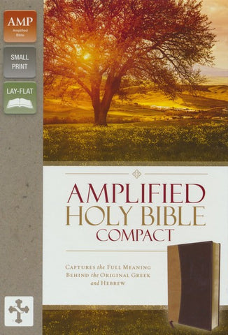 Amplified Compact Holy Bible - soft leather-look, camel/burgundy