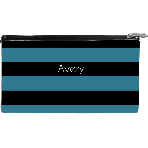 Wide Stripes Black Small Cosmetic Bag