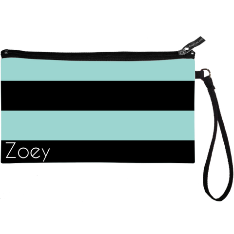 Wide Stripes Black Wristlet