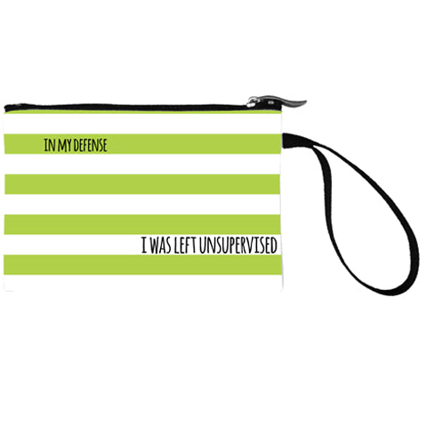 Wide Stripes White Mini Clutch