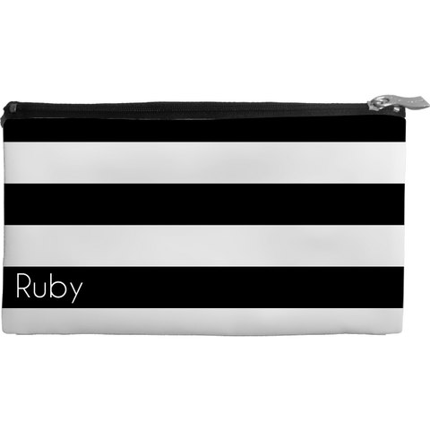 Wide Stripes Black Medium Cosmetic Bag