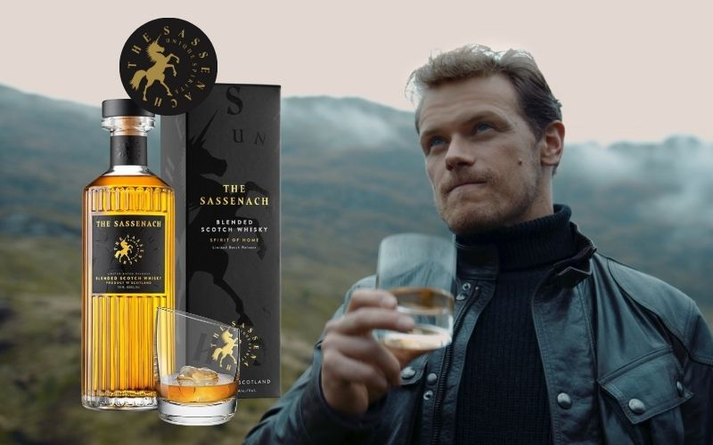 Side-by-side of Heughan and a bottle of The Sassenach Scotch Whisky