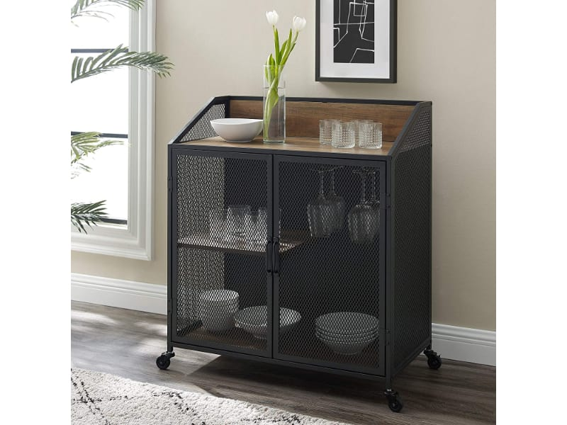 Walker Edison Malcomb Urban Industrial Wine Cabinet