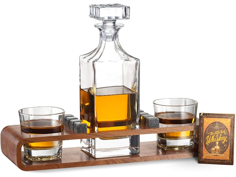 ROCKSLY Crystal Whiskey Decanter Set with Stand
