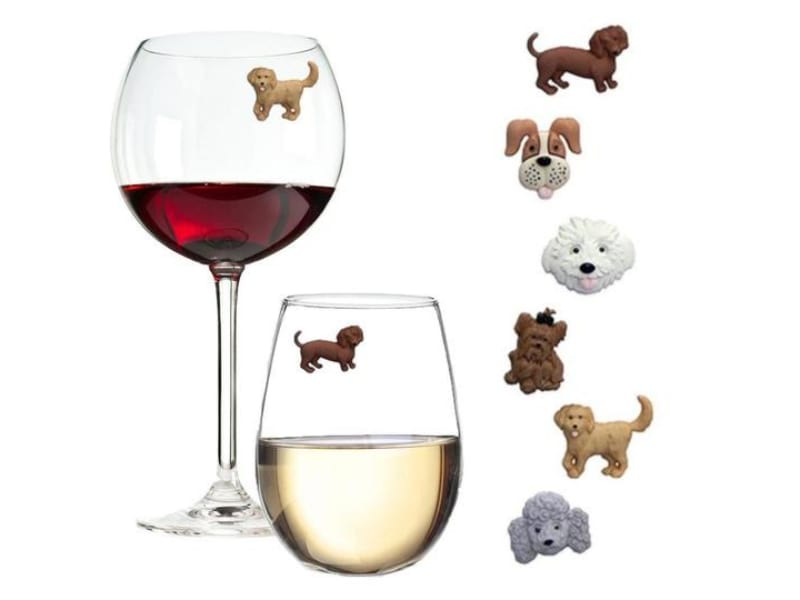 Six pieces dog-themed magnetic drink markers