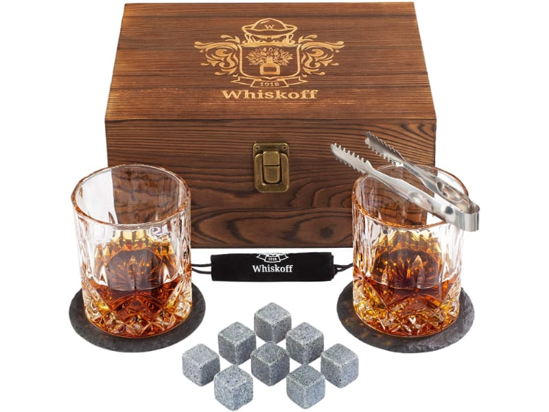 W WHISKOFF Scotch Glasses Gift in Wooden Box