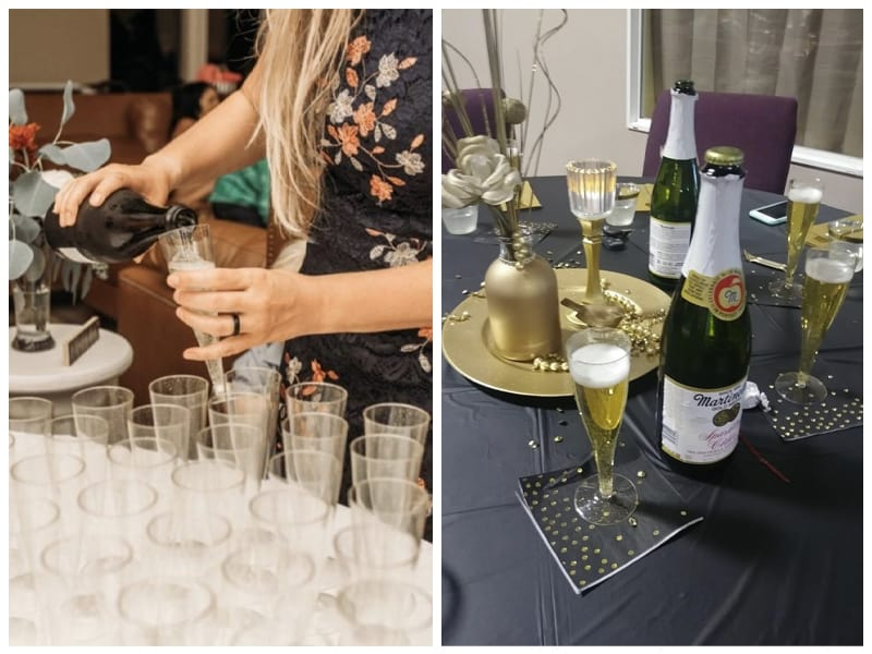 Prestee Gold Glitter Flute Disposable Plastic Wine Glass Customer Images