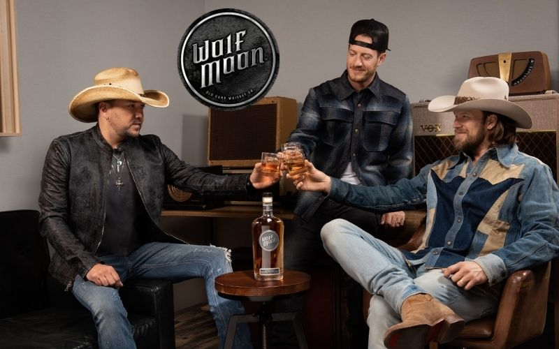 Aldean and Florida Georgia Line having a toast - Image by Wolf Moon Bourbon