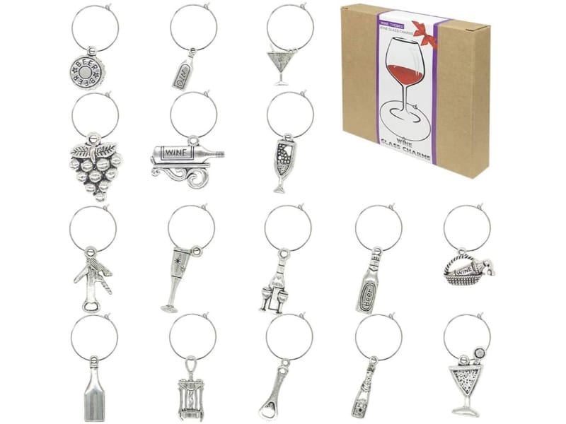 16 pieces wine-themed glass charms