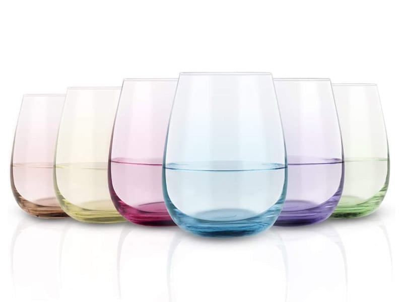 Gingprous Colored Stemless Wine Glass Set
