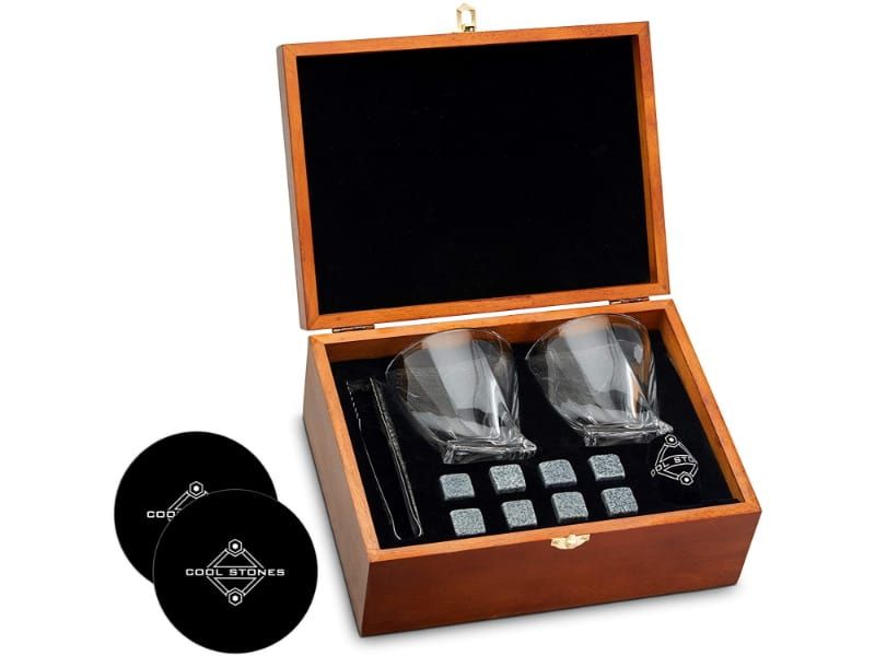 Cool Stones Whiskey Stones and Glass Gift Set