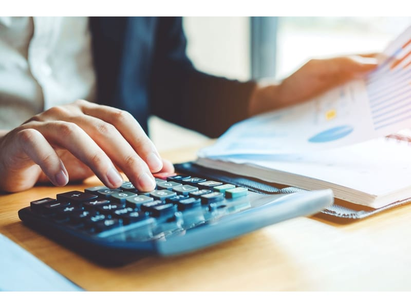 Business man Accounting Calculating Cost Economic Financial data analyzing