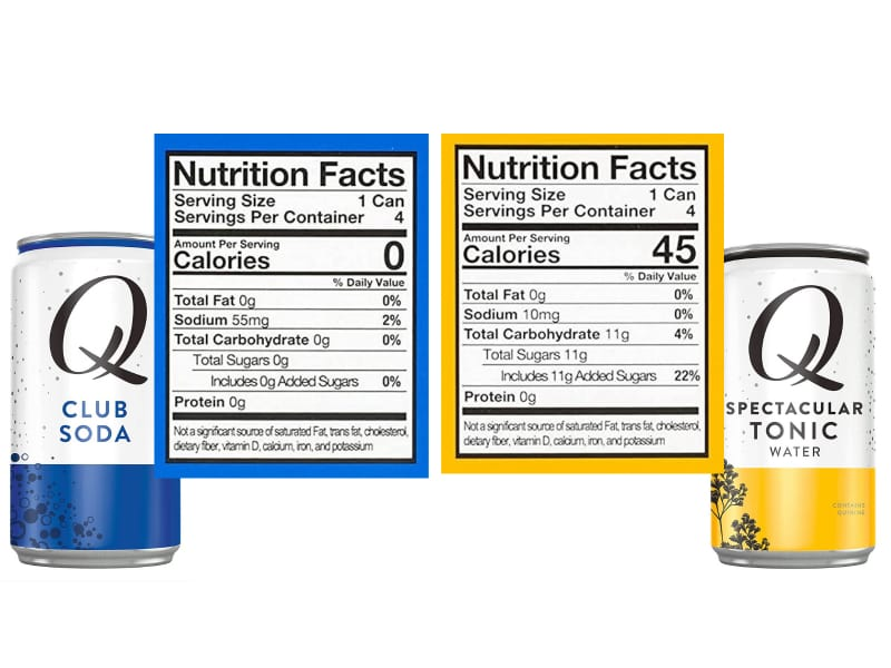 Comparison of Club soda and Tonic water's Nutrition Facts