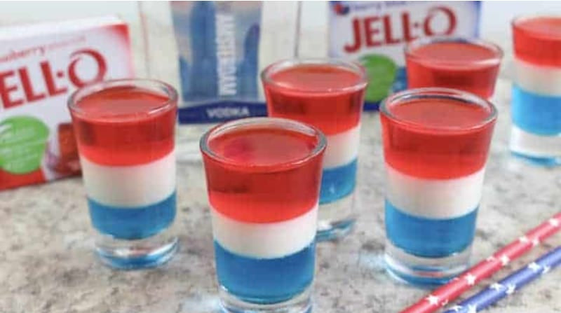 4th of July Red White and Blue Jello Shots - Image by princesspinkygirl.com