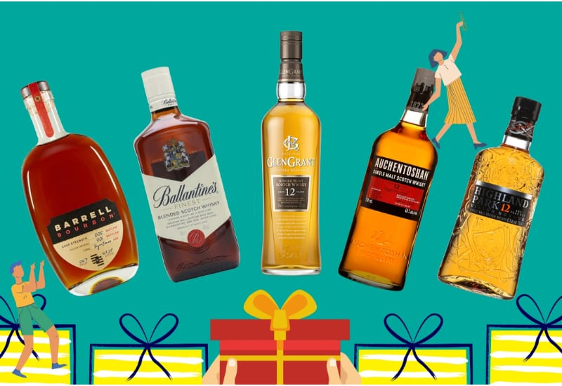 5 bottles of whiskey with 5 gift boxes