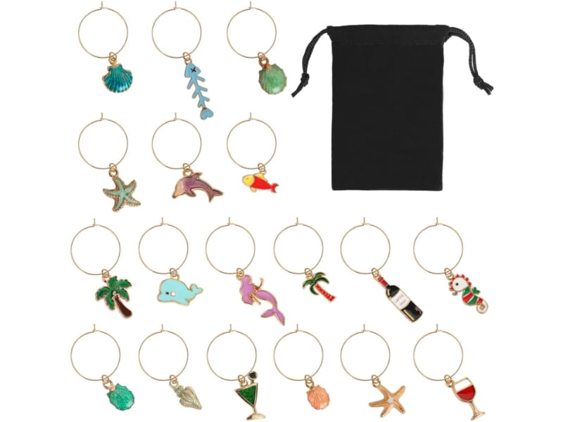 18 pieces beach-themed wine charms with black pouch