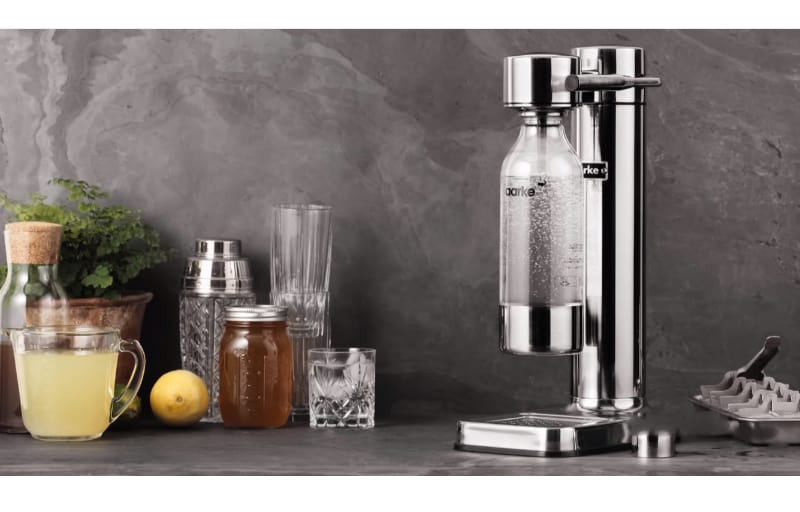 Aarke soda maker with glass and jars