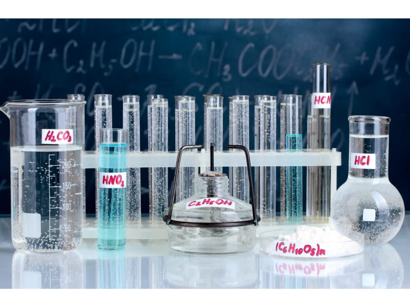 Different acids in different containers