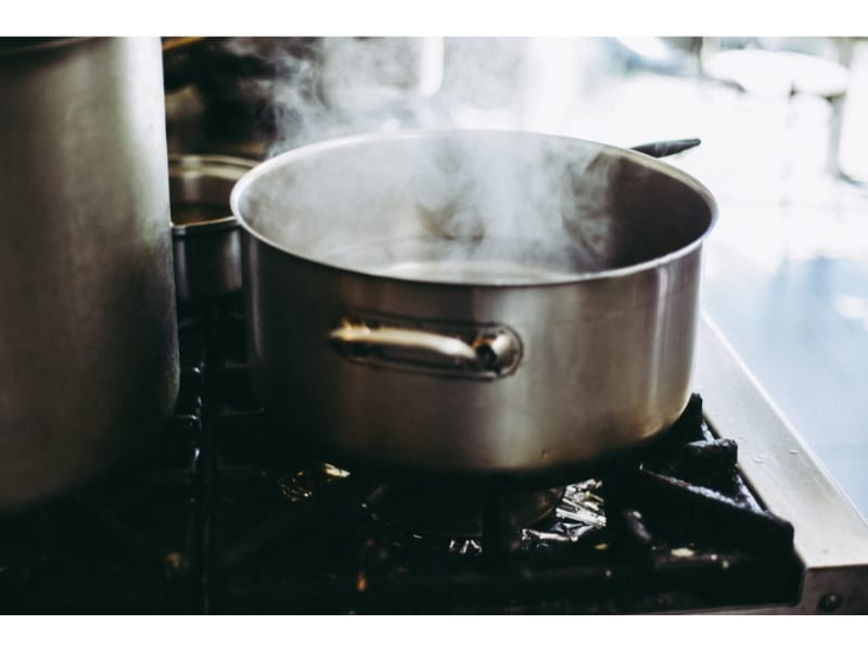 steaming hot water
